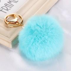Cute Genuine Leather Real Rabbit fur ball keychain plush Car key ring Bag Pendant fur pom pom key