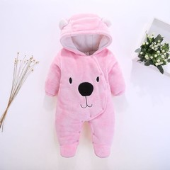 Cartoon Bear Flannel New Born Baby Clothes Romper Novelty Cotton Boy Girl Animal Rompers Stitch B
