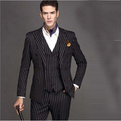 Black White Stripe Men Suit Slim 3Piece Tuxedo Groom Suits Custom Made Prom Blazer Terno Masculin
