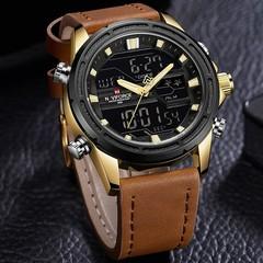 Brand Mens Sports Watches NAVIFORCE Men Analog Quartz LED Clock Leather Military Waterproof Wrist
