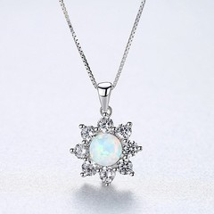 Gold Plated 925 Sterling Silver Blue/Green/White Opal Necklace Classic Sun-flower Pendant Necklac