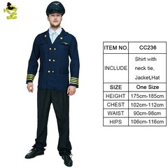 Mens Clothing Pilot Costume Cosplay Halloween Party Costume Men for Pilot Jacket with Hat