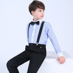Suit For Boys Kids Formal Prince student Dress Gentleman Kids Strap Shirt Pants Bowtie 4Pcs cerem