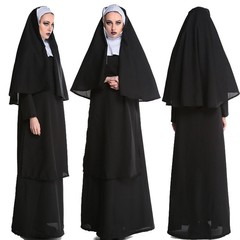 Halloween Virgin Mary Nuns Costumes for Women Sexy Nuns Black Capes Costume Religion Monk the nun