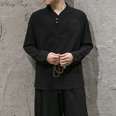 new arrival linen suits men dress suits Chinese traditional men clothing solid color long sleeves