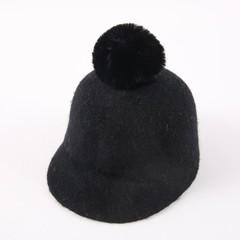 01809-tuyu357 winter warm solid wool pompon kids visors  hat boy girl children Outdoor leisure eq