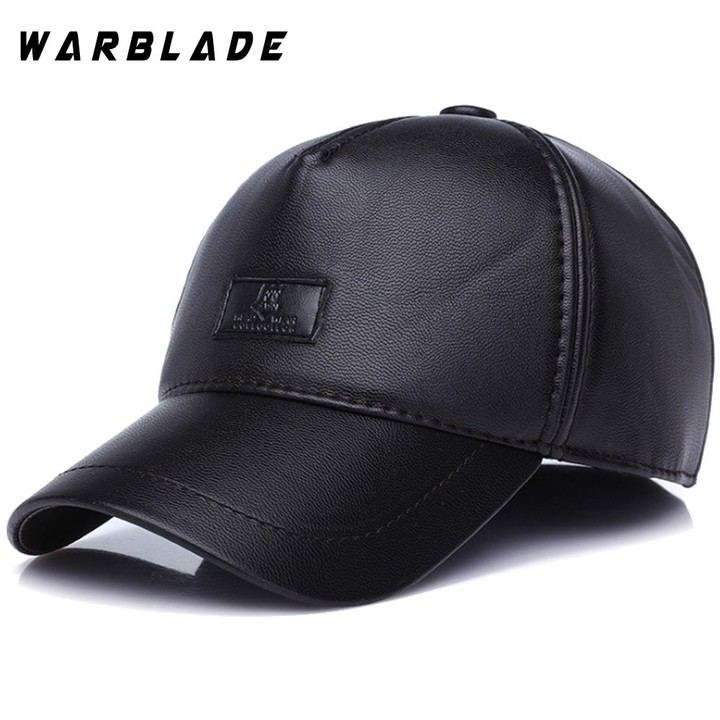Fashion Leather Baseball Cap Men Thicken Fall Winter Hats with Ears 6 Panel Keep Warm Leather Cap