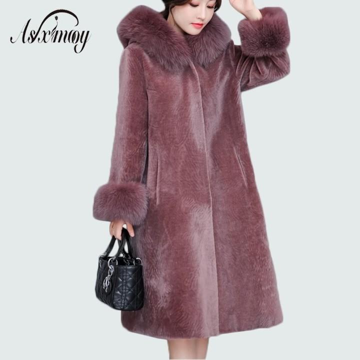 43bbebc100102 Quality Faux Fur Coat Jacket Women Winter with Hood Plus Size Warm Wool  Long Coat Elegant