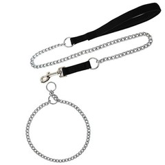 Products Medium Large Dog Pet Nylon Padded Chrome Plated Control Chain Collar Leash