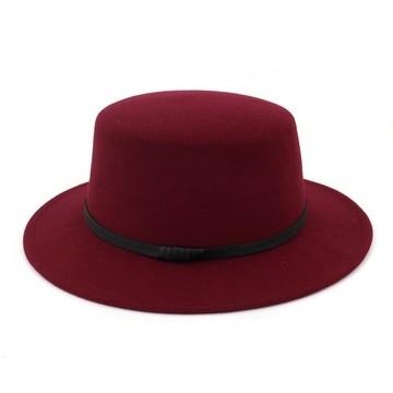 d538eb27d99d5 Boater Flat Top Hat for Womens Felt Wide Brim Fedora Hat Laday Prok Pie  Chapeu de