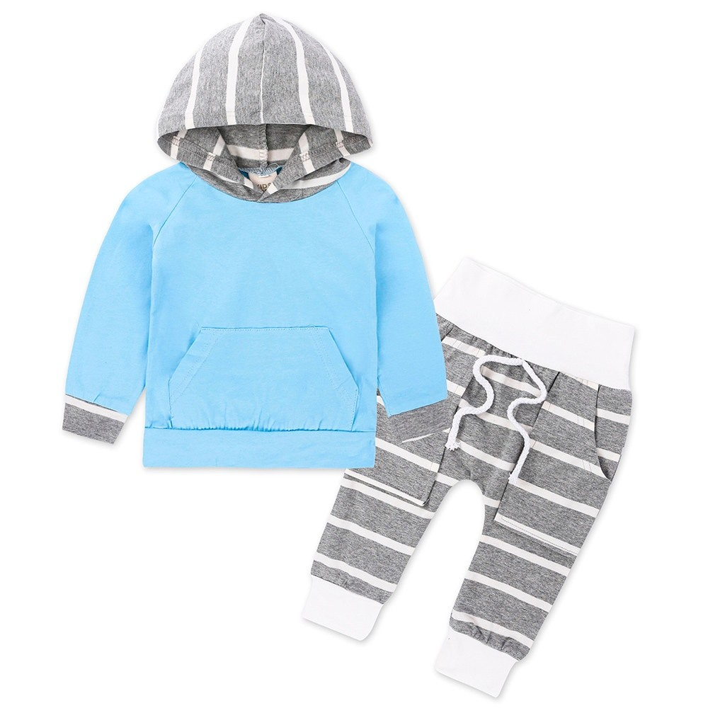 a9a24b65c 2pcs Toddler Infant Baby Boys Clothes Long Sleeve Hooded Cotton ...