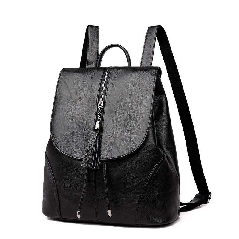 46f28f543a7f Drawstring Women Backpacks Large Capacity with tassel PU Leather ...