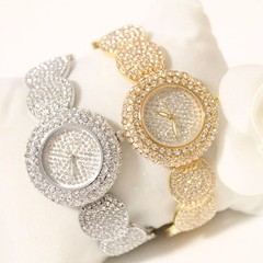 Luxury Shiny Zircon Inlaid Women Wristwatch Round Dial Quartz Watch Elegant Waterproof Female Clo