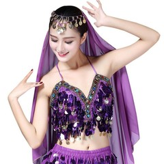 ca847a4911 Women Sequin Halter Bra Top Salsa Belly Dance Boho Festival Club Tribal Top  Colorful Beading Coin