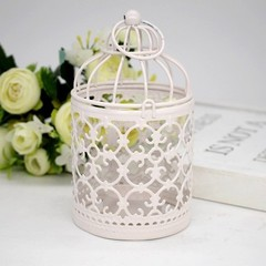 Wrought New 1PC White Hollow Holder Candlestick Tealight Hanging Lantern Bird Cage