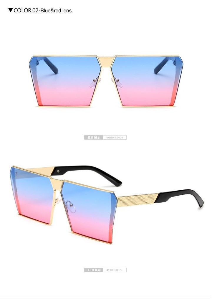 a9b9183ed1b Oversized Rimless Sunglasses Women Vintage Square Colorful Mirror Goggles  for Men Big Frame Metal