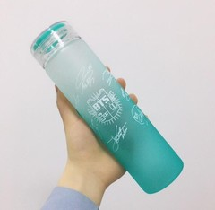 K-Pop Gradient Glass Water Bottle Outdoor Sport Bottle Student Drinking Bottle Gift for Friend