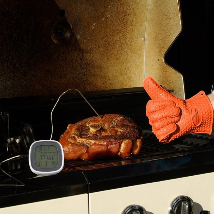 Touchscreen LCD Digital Display Meat Food Cooking Thermometer Timer With Stainless Steel Probe TS