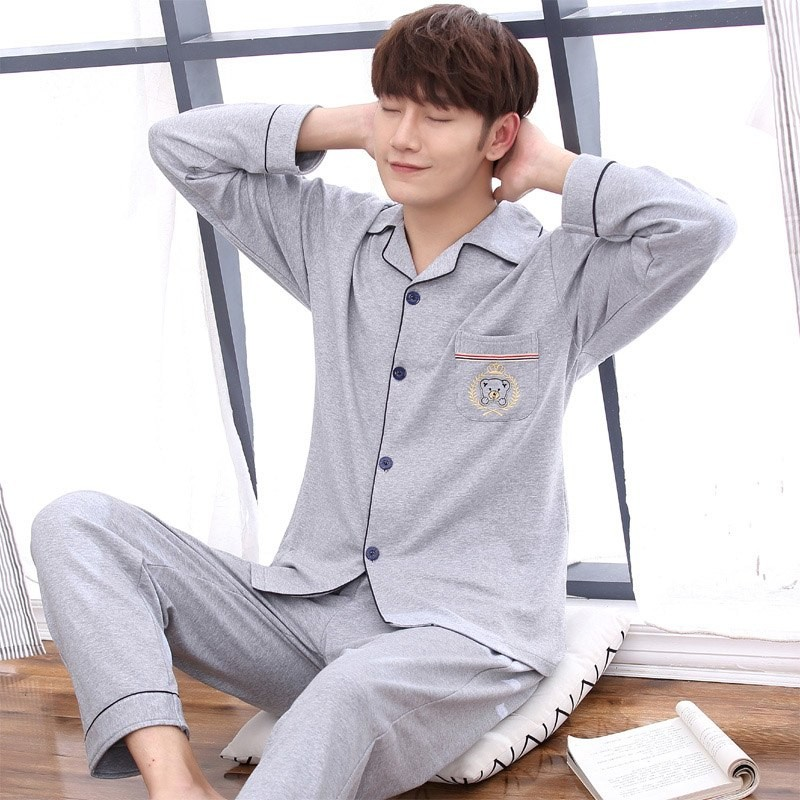 fe0a2e17b6 Men Pajamas Set Long Sleeved Sleepwear Cotton Nighties Casual Male Nightwear  Autumn Simple Suit P  Product No  10095105. Item specifics  Seller ...