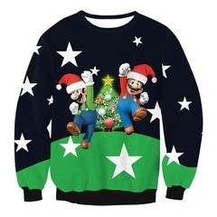 Winter Clothes New Christmas Costume Men Women Sweaters Santa Claus Cosplay Long Sleeve Round Nec