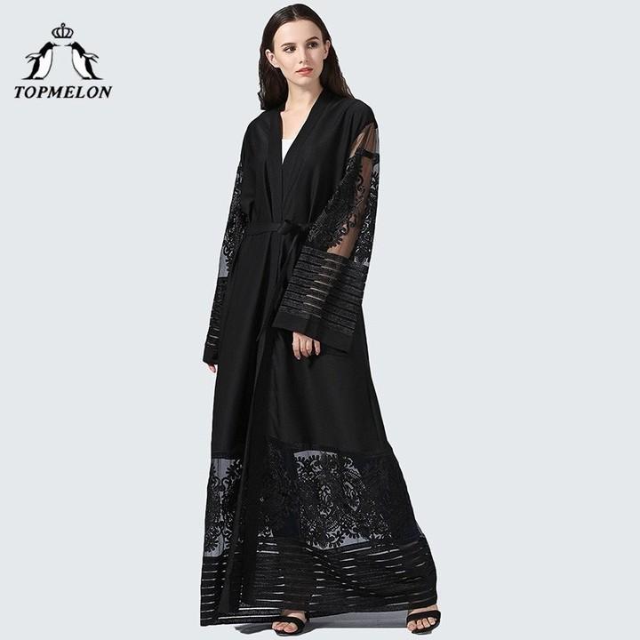 5d426837d6e3 Lace Caftan Black Purple abayas for women Floral Hollow Out Long Loose Dress  Casual Open Abaya