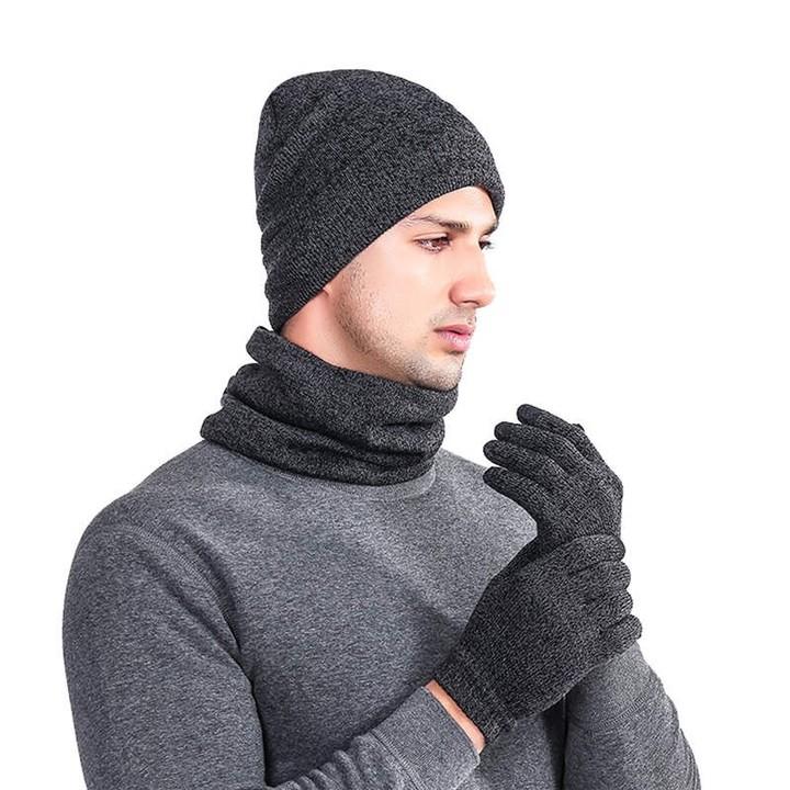 Men Women Warm Crochet Winter beanie Wool Knit Gloves Bib And Hat Three-Piece Suit winter hats fo