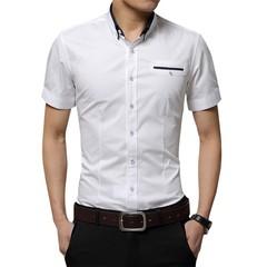 2018 New Arrival Mens Shirt Brand Luxury Men Cotton Short Sleeves Dress Shirt Turn-down Collar Pl