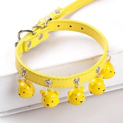 Collar+1 Leash) Adjustable Dog Collar Cnady Color Fashion Collars With 5 Bells Collar and Leash S