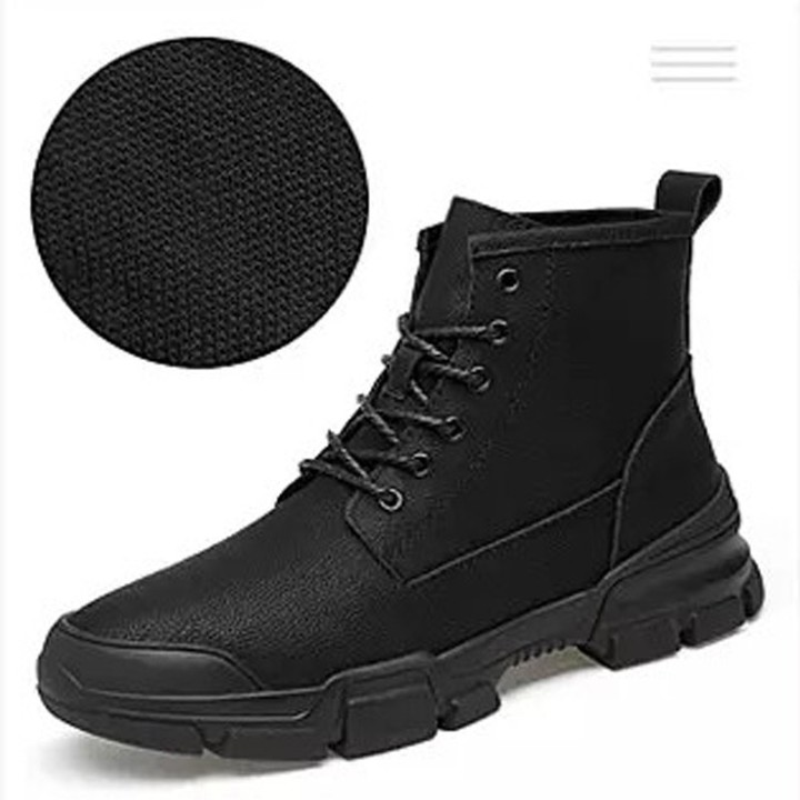 3c80b22584d 2018 Snow Ankle Boots Men Leather Mid-Calf Warm Plush Male Military Combat  Boots High