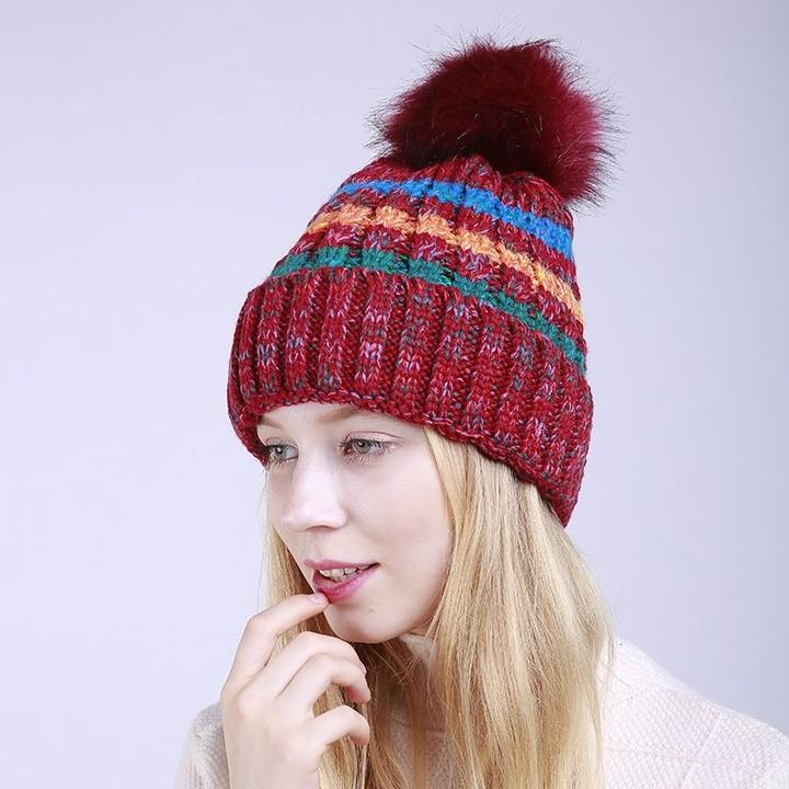30425f26bb5 For Woman Winter Hats Elegant Knitted 2018 Natural Pom Poms Stripe Hat  Female Skullies Beanies