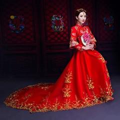 Style Satin Elegant Lady Qipao Female Embroidery Trailing Cheongsam Phoenix Bride Wedding Mesh Dr