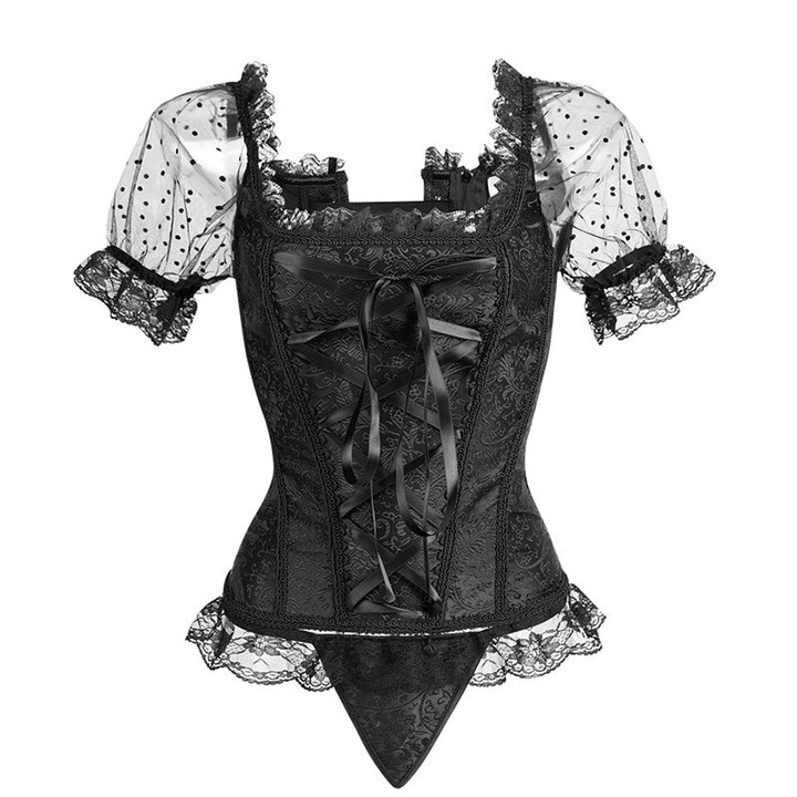 f1166db83e64 sky New Sexy Women Steampunk Corset Sexy Lace Sleeve Corselet Lace Up  Bustiers Korset For Posture