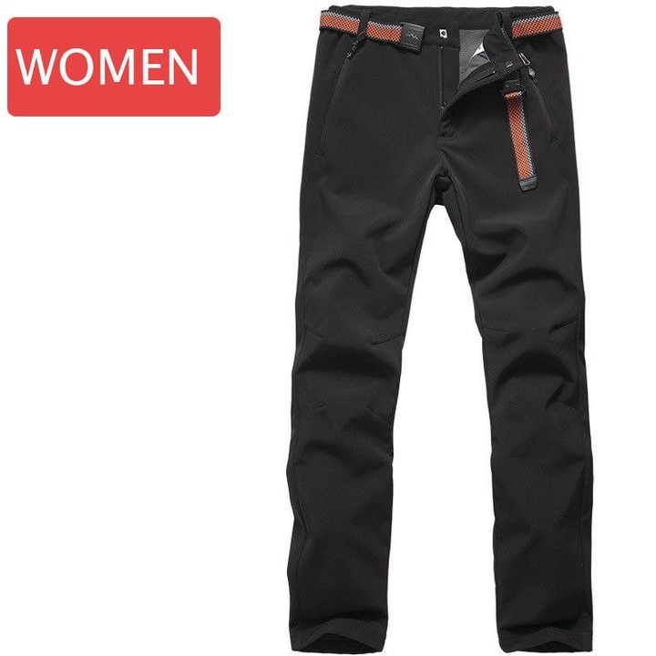 72e3e0767eb0e Men Women Hiking Pants Thick Warm Fleece Softshell Skiing Pants Trousers  Waterproof Windproof pan