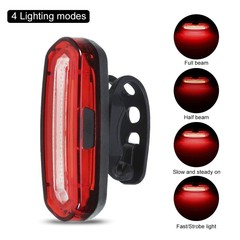 Bright LED Bike Tail Light, USB Rechargeable Bicycle Rear Light, IPX6 Waterproof and Easy Install