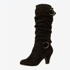 Size Mid Calf Women Boots Platform Medium Spike Heels Buckle Zipper Ladies Winter Boot 2018 New K