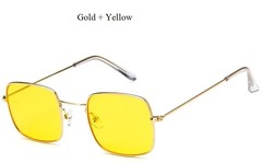 Small Frame Square Sunglasses Women Metal Yellow Red Pink Lens Trend 2018 Glasses Men Couple Eyeg