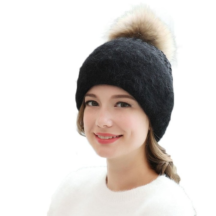 3c8ae1b6a1ed4 Winter Hats For Women Knitted Beanie With Pom Poms Wool Warm Caps 2018  Solid Girl Slouch