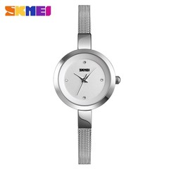 New Fashion Relogio Feminino SKMEI Luxury Ladies Watch Women Watch Stainless Steel Thin Strap Silver