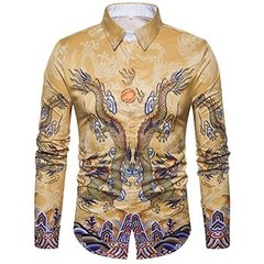 Tuxedo Shirts Men Long sleeve Fashion Chinese Style Vintage Print Tops casual shirts mens camiset C412