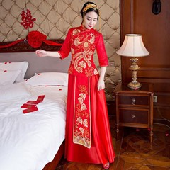Chinese Cheongsam Female Red Phoenix Qipao SuZhou Embroidery Oriental Bride Wedding Dress Gown St