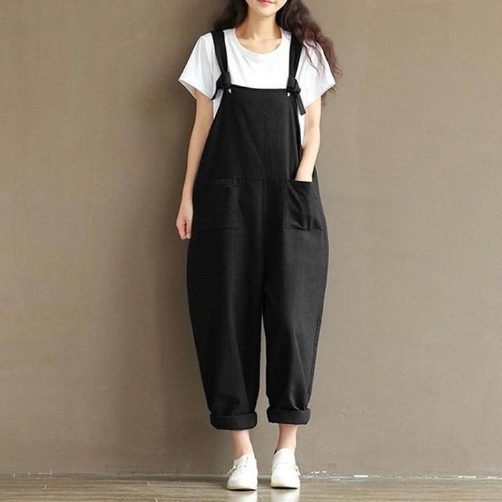 4844fdc70e15 New Womens  Casual Loose Linen Pants Cotton Jumpsuit Strap Harem Trousers  Overalls Plus Size Soli