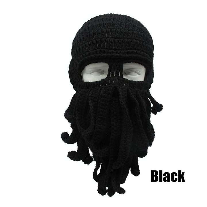 d389846dc09 Funny Octopus Knit Hat Men Fashion Ski Squid Hats Novelty Mask Beard Squid  Cap Wind Ski