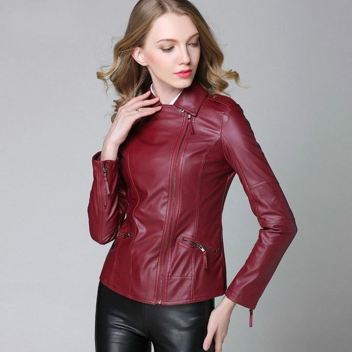 ea583b7baad Coat Female 2018 Spring Autumn Big Sizes Women Soft PU Leather Jacket Slim  Short Motorcycle Jacke