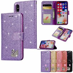 Swan Glitter Wallet Leather Cases For Iphone XR XS MAX X 10 8 7 Plus 6 6S 5 Galaxy Note 9 Diamond