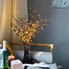 LED Willow Branch Lamp Floral Night Lights 20 Bulbs Battery Powered Home Christmas Birthday Party