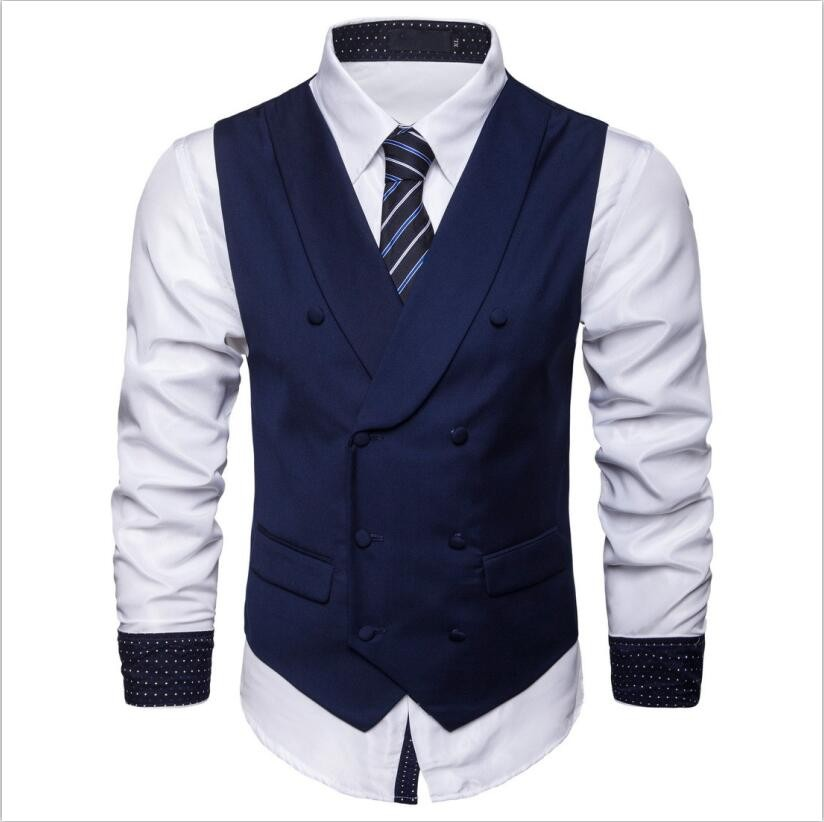 2603fb02f144c New Autumn Solid Mens Vest Fashion Double Breasted Sleeveless Jacket ...