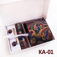Silk Men Neckties Set Hanky  Tie Clip Cufflinks Tie  Gift Box  Set Paisley Jacquard Woven Tie for