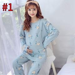 Nursing Pajamas Set Cotton Pregnant Women Breastfeeding Sleepwear Long Sleeve Maternity Autumn Wi