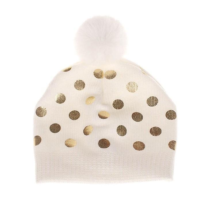 4a86cba3765 Baby Polka Dot Knit Hat Soft Cotton Newborn Baby Beanie Warm Winter Hat For  Baby Girls