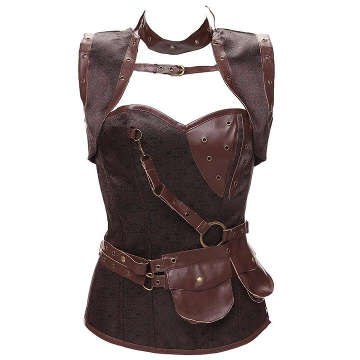 0f3fa9c9e0 Size 6XL Punk Corset Faux Leather Steel Boned Gothic Clothing Waist Trainer  Basque Steampunk Cors